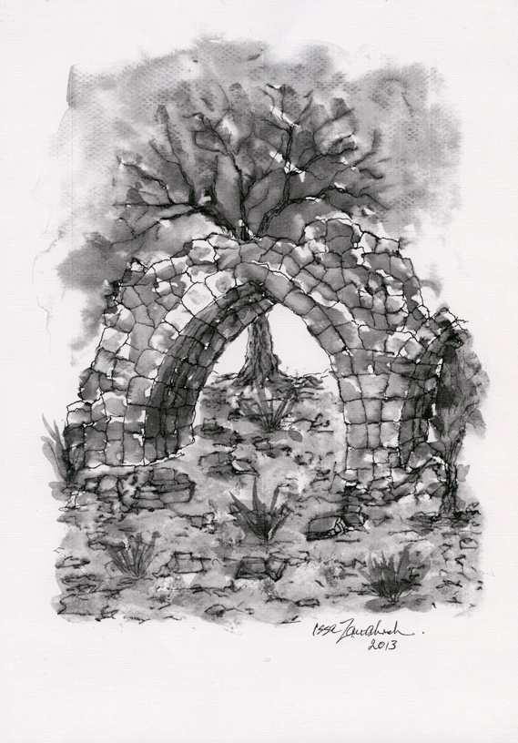 Ruined Arch (black & white) by Issa Zawahreh