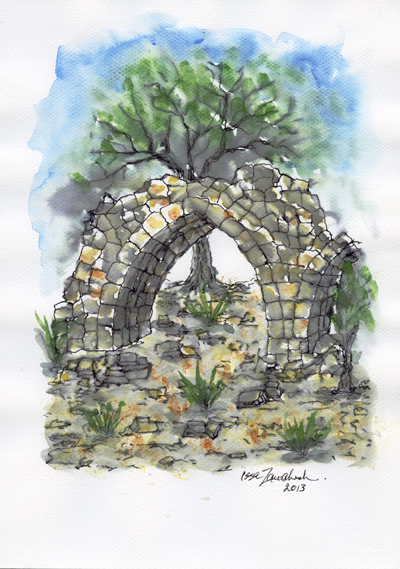 Ruined arch (colour) by Issa Zawahreh