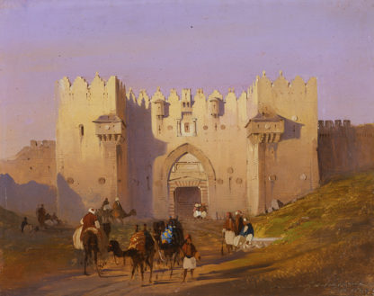View of Damascus Gate with Camel Drivers, Jerusalem by Ippolito Caffi