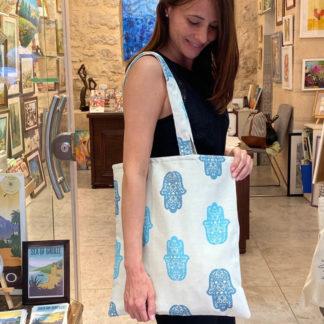 Hand motif tote bag